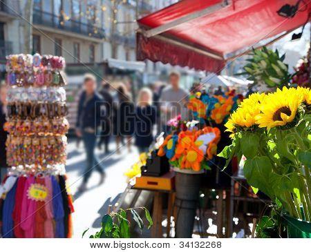 Barcelona Ramblas street life from flowers market poster