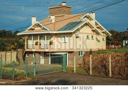 Bento Goncalves, Brazil - July 13, 2019. Rural Landscape With Charming Country House Next To A Road,