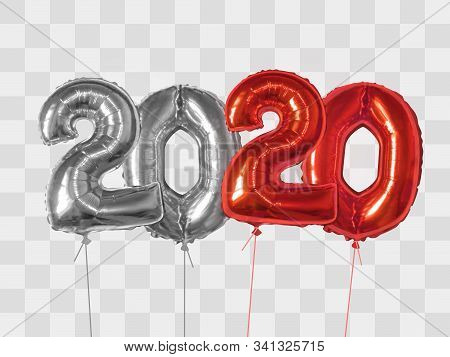 2020 Number Of Silver And Red Foiled Balloons Isolated On Transparent Background. Happy New Year 202