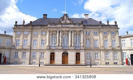 Copenhagen, Denmark - Jul 06th, 2015: Amalienborg, Royal Palace In Frederiksstaden District