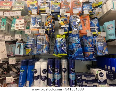 Variety Choice Of Men Shaving Products Health Care On Displayed For Sale At Supermarket. Gillette Ra