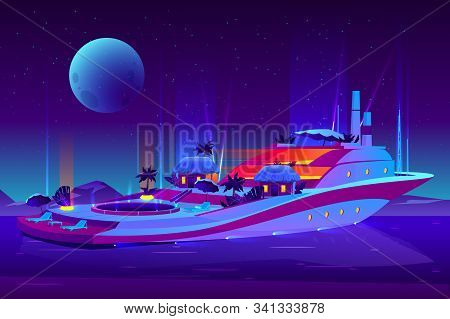 Night Party On Future Floating Hotel, Cruise Ship, Yacht Cartoon Concept. Futuristic, Illuminated Pa