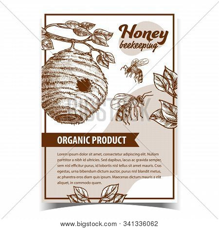 Bee Insect And Natural Beehive House Poster Vector. Tree Bee Nest With Circular Entrance For Swarm.