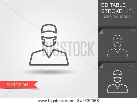 Surgeon. Line Icon With Editable Stroke With Shadow