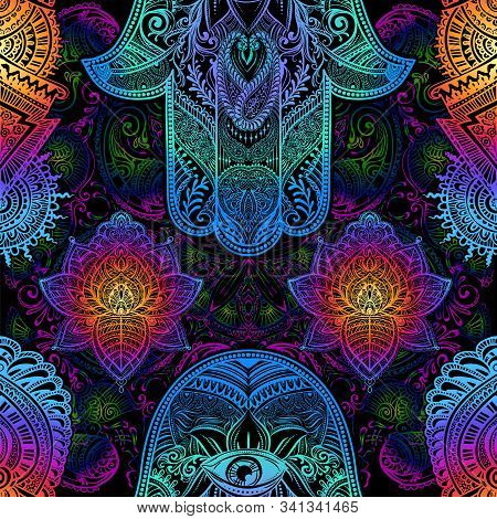 Seamless Background For Yoga And Meditation. Ornate Iridescent Oriental Pattern With Paisley And Meh