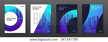 Brochure Cover Design Layout Set For Business And Construction. Abstract Geometry Whith Colored City