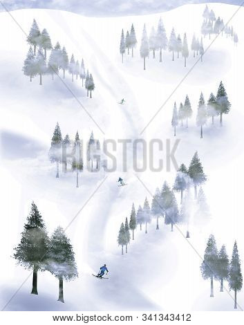 Skiiers Are Seen Descending A Mountain, Swerving Between Groups Of Trees In The Fog. This Is An Illu