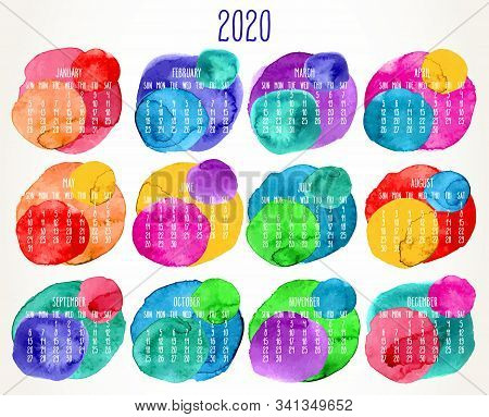 Year 2020 Vector Monthly Artsy Calendar. Hand Drawn Colorful Watercolor Paint Circles Design Over Wh
