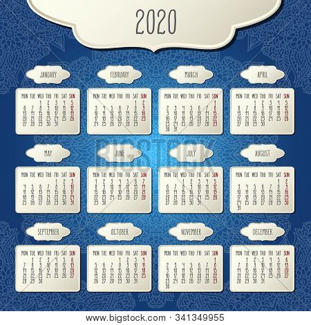 Year 2020 Vector Monthly Calendar Over Doodle Ornate Hand Drawn Blue Floral Background, Week Startin
