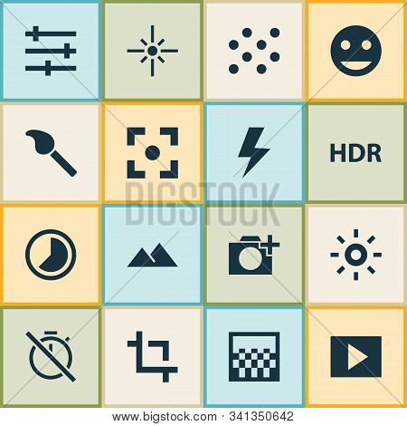 Picture Icons Set With Slideshow, Capture, Flare And Other Filtration Elements. Isolated Vector Illu