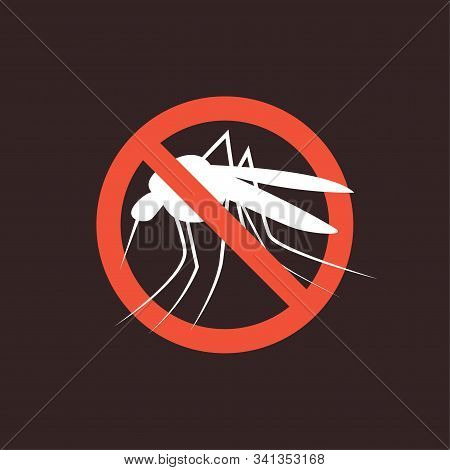 Repellent Mosquito Stop Sign Icon. Malaria Pest Insect Anti Mosquito Warning Symbol