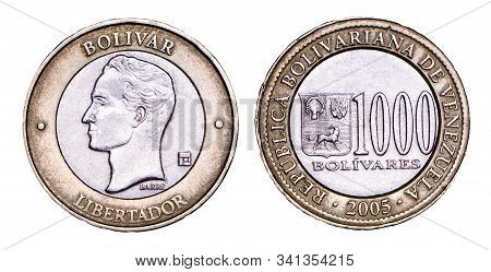 Venezuelan Coin Five Bolivars 1989. Simon Bolivar Head, Silver. Concept For Design.