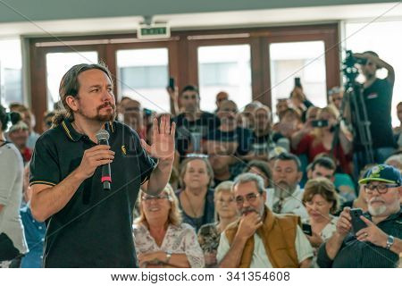 Palma De Mallorca, Spain / November 01, 2019: Political Meeting Of The Leader Of The Political Party