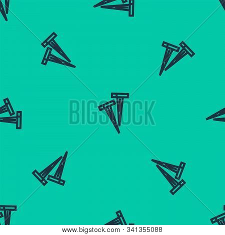 Blue Line Pegs For Tents Icon Isolated Seamless Pattern On Green Background. Extreme Sport. Sport Eq