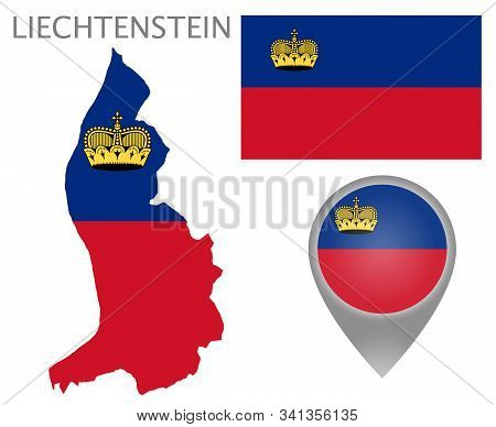 Colorful Flag, Map Pointer And Map Of Liechtenstein In The Colors Of The Liechtenstein Flag. High De