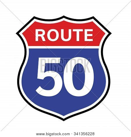 50 Route Sign Icon. Vector Road 50 Highway Interstate American Freeway Us California Route Symbol