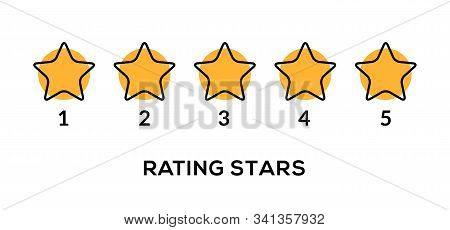 Star Vector Rate 5 Review Icon. Five Star Rate Yellow Row Quality Gold Symbol Ranking