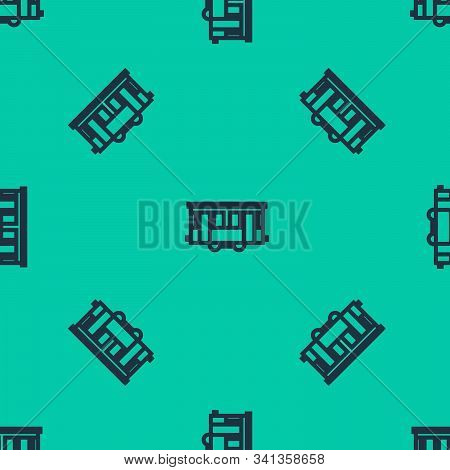Blue Line Old City Tram Icon Isolated Seamless Pattern On Green Background. Public Transportation Sy