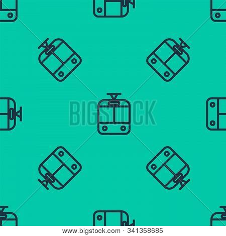 Blue Line Tram And Railway Icon Isolated Seamless Pattern On Green Background. Public Transportation
