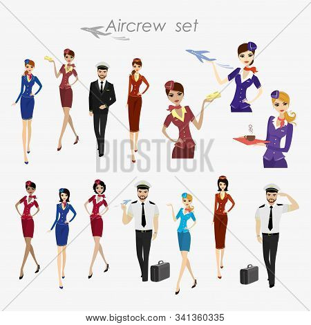 Set Of Aircraft Crew , Stewards And Pilots In Working Form Isolat