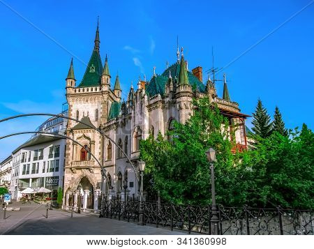 Kosice, Slovakia - May 2, 2018: Jakabs Palace - Beautiful Castle With Emerald Roof In Kosice In Spri