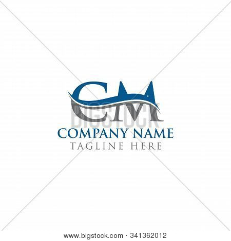 Initial Cm Letter Logo With Water Wave Business Typography Vector Template. Creative Abstract Letter