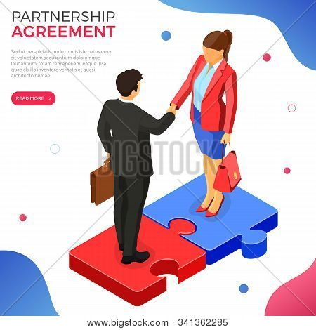 Handshake Business Man And Woman After Negotiating Successful Deal. Startup Partnership To Achieve G