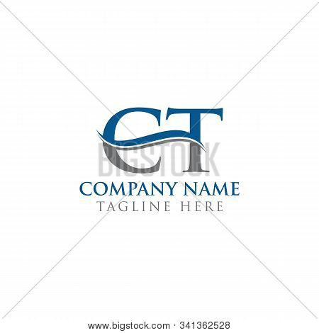 Initial Ct Letter Logo With Water Wave Business Typography Vector Template. Creative Abstract Letter