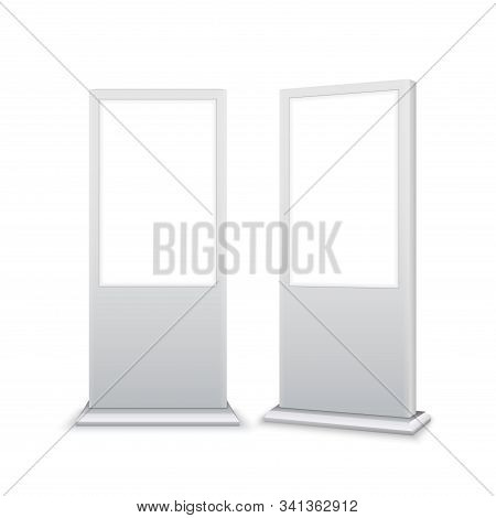 Digital Stand Signage Advertising Banner Lightbox. Blank Isolated Mockup Billboard Marketing Panel O
