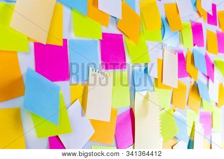 Whiteboard Covered With Colourful Adhesive Sticky Notes