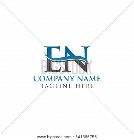 Initial En Letter Linked Logo Business Vector Template. Water Wave En Logo Design