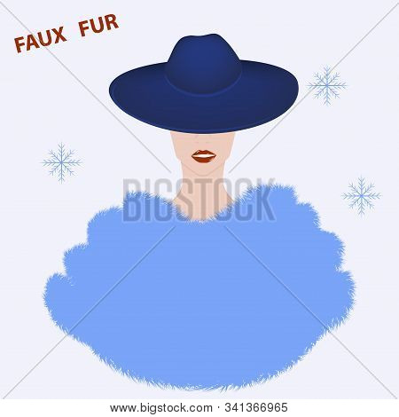 Lady In Elegant Hat With Brim And Fur Coat, Stole, Cape, Long Pile - Vector. Artificial Fur. Winter