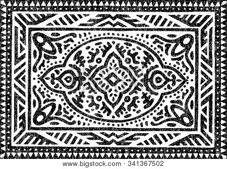 Carpet Black And White Pattern. Ethnic And Tribal Motifs. Grunge Texture. Ornament For Textiles.