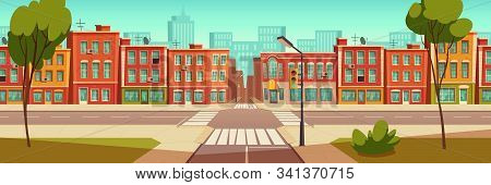 Urban Street Landscape With Crossroad And Traffic Light, Buildings With Small Shops, Cafes And Resta