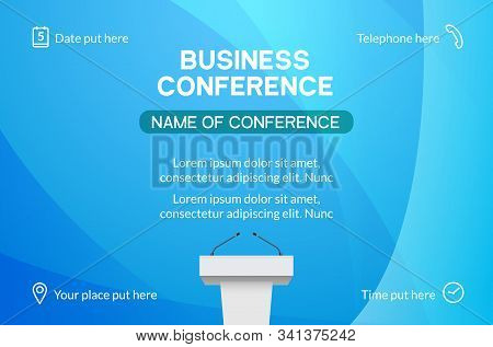 Business Conference Simple Template Invitation. Geometric Magazine Conference Or Poster Business Mee