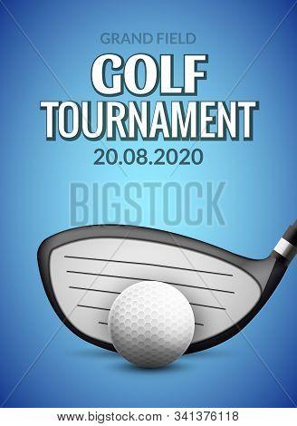 Golf Tournament Poster Template Flyer. Golf Ball Competition. Sport Club Vector Design