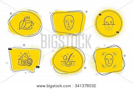 Face Recognition, Face Biometrics Signs. Chat Bubbles. Serum Oil, Cream And Mint Tea Line Icons Set.