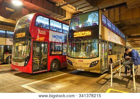 HONG KONG, CHINA - CIRCA JANUARY, 2019: double-decker buses seen at a terminus in Hong Kong.