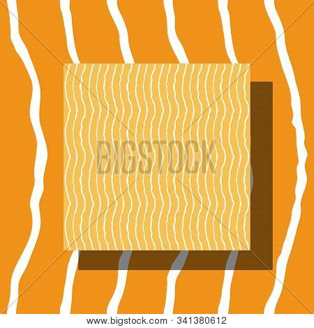 Seamless Pattern With Wavy Lines Made By Hand With Ink And Brush. Bright Yellow And White Colors. Re