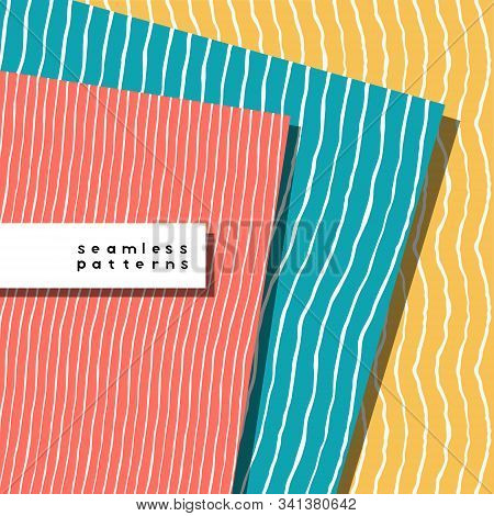 Set Of Pattern With Lines With Various Width And Shape. Coral, Yellow, Teal And White Colors. Repeat
