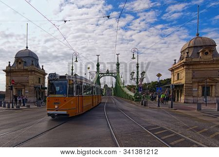 Budapest, Hungary-01 October, 2019: Picturesque Autumn Landscape. Close-up View Of Liberty Bridge (f