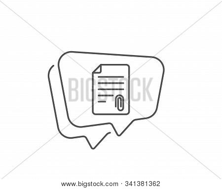 Cv Attachment Line Icon. Chat Bubble Design. Document File Symbol. Outline Concept. Thin Line Attach