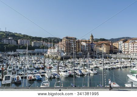 Bermeo, Biscay, Basque Country, Spain - September 27, 2018: Leisure Port Of Bermeo With Several Boat