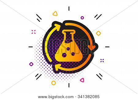 Laboratory Flask Sign. Halftone Circles Pattern. Chemistry Experiment Icon. Analysis Symbol. Classic