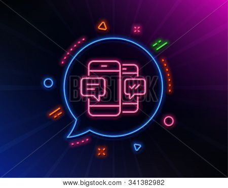 Phone Message Line Icon. Neon Laser Lights. Mobile Chat Sign. Conversation Or Sms Symbol. Glow Laser