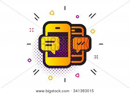 Mobile Chat Sign. Halftone Circles Pattern. Phone Message Icon. Conversation Or Sms Symbol. Classic
