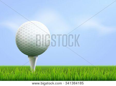 Golf Tournament Poster Template Flyer. Golf Ball On Green Grass For Competition. Sport Club Vector D