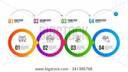 Employee Hand, Crowdfunding And Partnership Line Icons Set. Timeline Infographic. Clapping Hands Sig