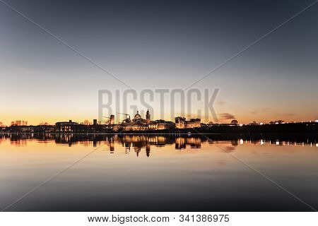 A Deliberately Overexposed Panoramic Photography Of Mantova (mantua, Italy). Cityscape At Sunset Ref
