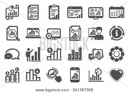 Graph Icons. Set Of Chart Presentation, Report, Increase Growth Graph Icons. Analytics Testing, Fall